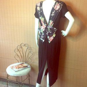 VTG 80s Black/Floral VBack Out Dress